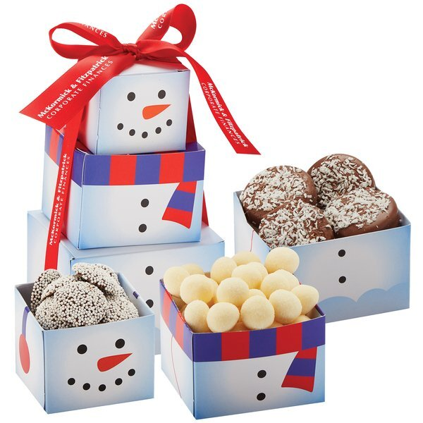 Snowman Tower of Holiday Treats