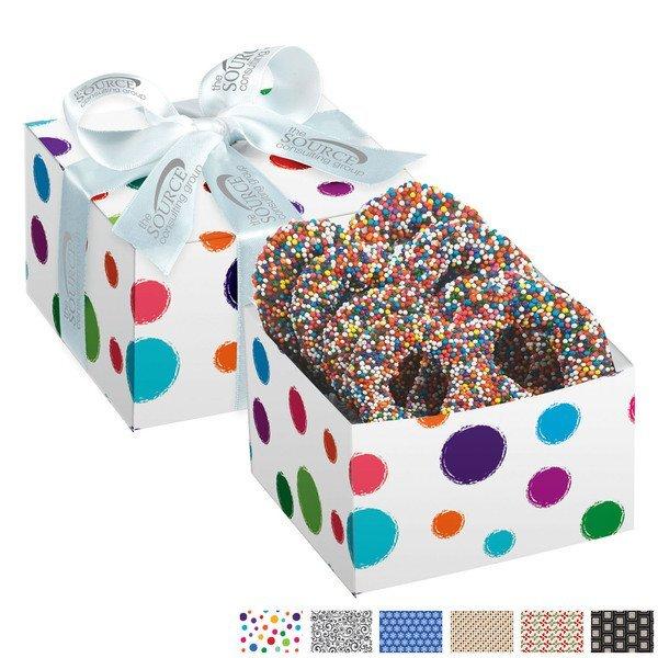 Chocolate Covered Pretzel Gift Box, Rainbow Nonpareil Sprinkles