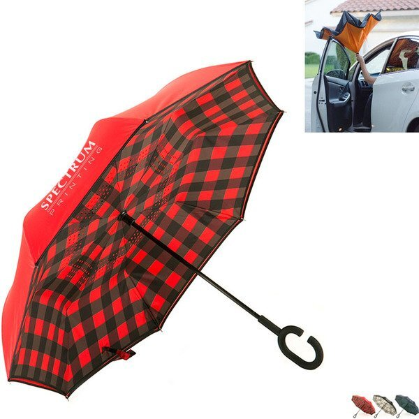"Stratus Reversible Umbrella, Plaid 48"" Arc"
