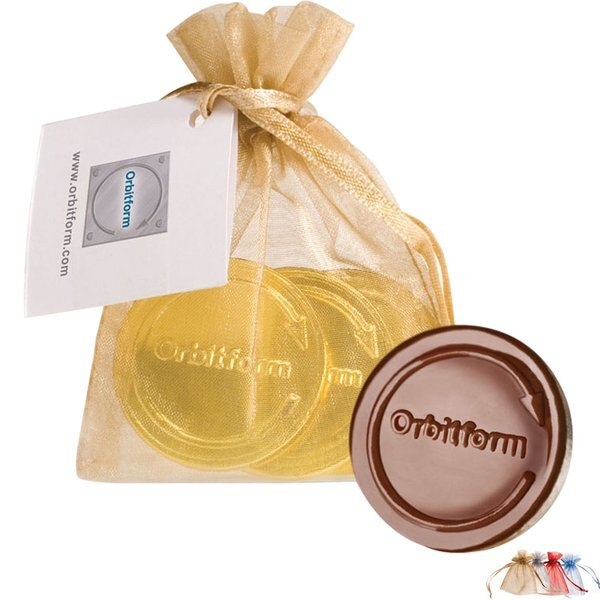 Belgian Chocolate Embossed Coins in Organza Gift Pouch, 3 Pcs