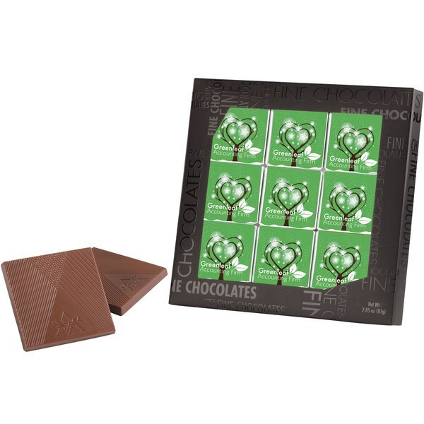 Belgian Chocolate Squares in Gallery Gift Box, 9 Pcs