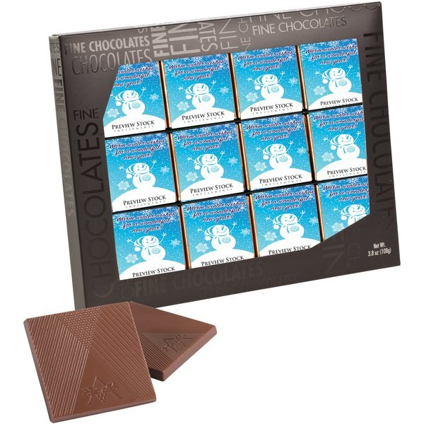 Belgian Chocolate Squares in Gallery Gift Box, 12 Pcs