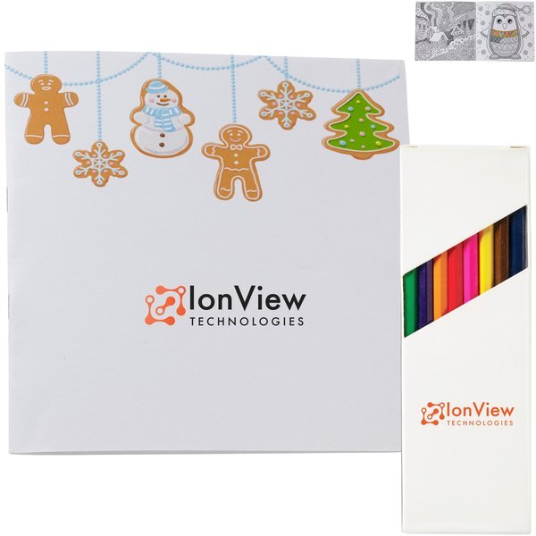 Holiday Deluxe Gingerbread People Adult Coloring Book & 8-Piece Color Pencil Set