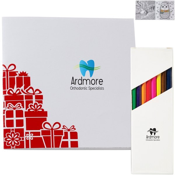 Holiday Deluxe Red Gift Boxes Adult Coloring Book & 8-Piece Color Pencil Set
