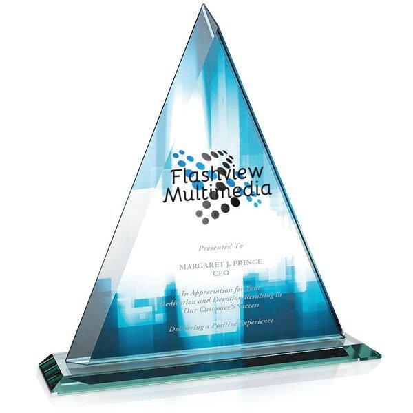 "Delta Jade Glass Award, Full Color Imprint, 11-1/2"""