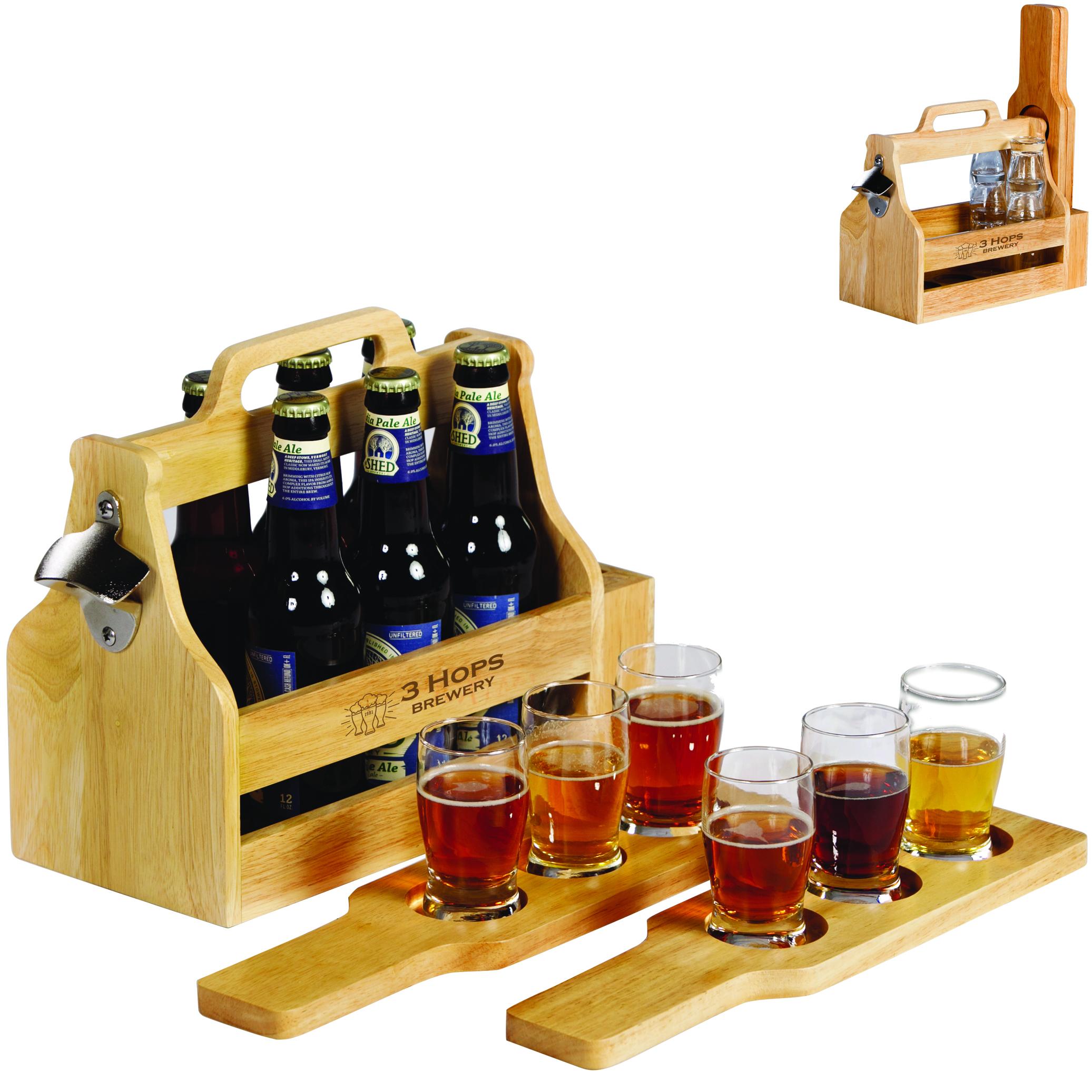 Brewfest Wooden Bottle Carrier & Beer Flight Gift Set