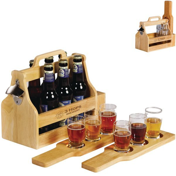 Brewfest Wooden Bottle Carrier & Beer Flight Gift Set