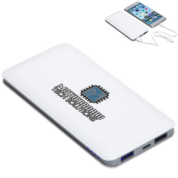 Ambassador Faux Leather Power Bank, 10000mAh w/ Full Color Imprint