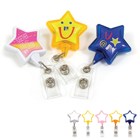 Star Retractable Badgeholder, Alligator Clip
