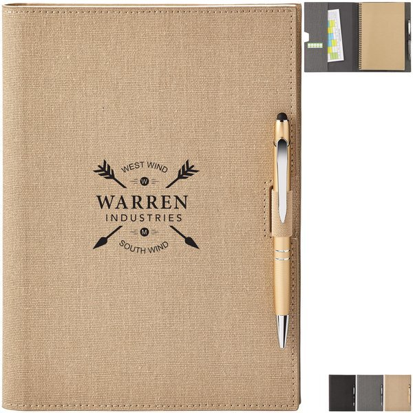 Linen Refillable Hard Cover Journal & Stylus Pen Set