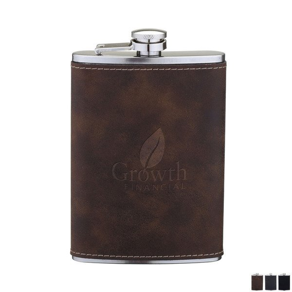 Leatherette Wrapped Flask, 8oz.
