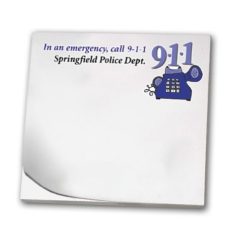 In an Emergency Call 9-1-1, 25 Sheet Sticky Pad