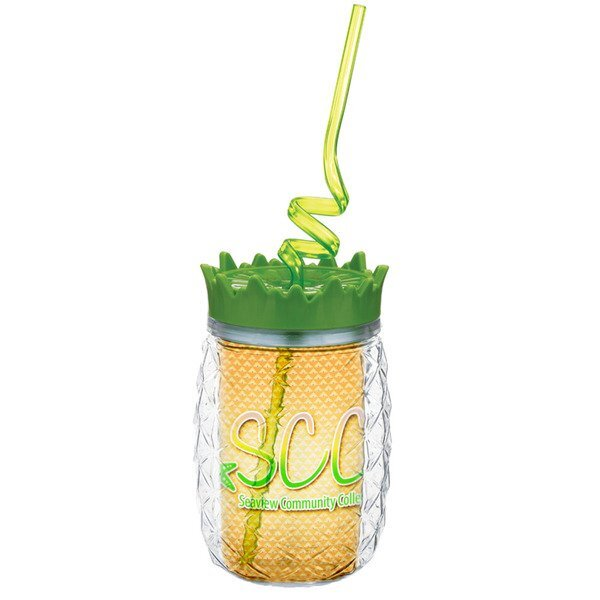 Pineapple Tumbler with Curly Straw, 16oz.