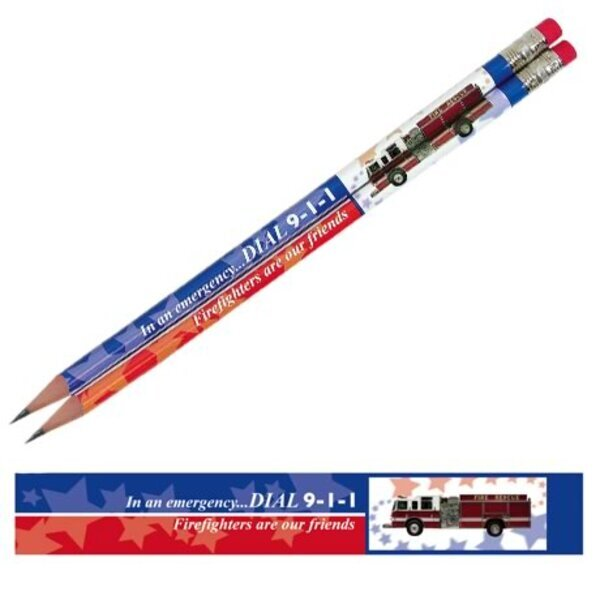 In an Emergency Dial 9-1-1, Firetruck, Stock Pencil