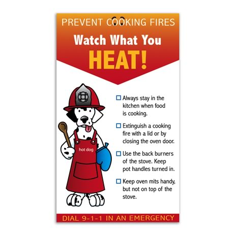 Prevent Cooking Fires Info Magnet, Stock - Closeout!