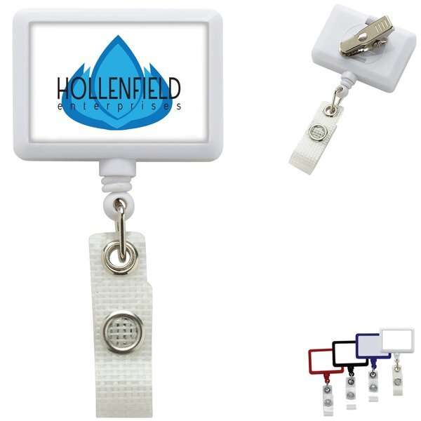 Antimicrobial Jumbo Rectangle Retractable Badgeholder, Alligator Clip