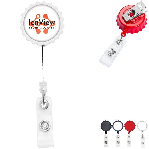 Bottle Cap Retractable Badge Reel, Bull Dog Clip