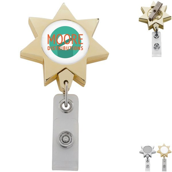 Metallic Finish Seven Point Star Retractable Badge Reel, Alligator Clip