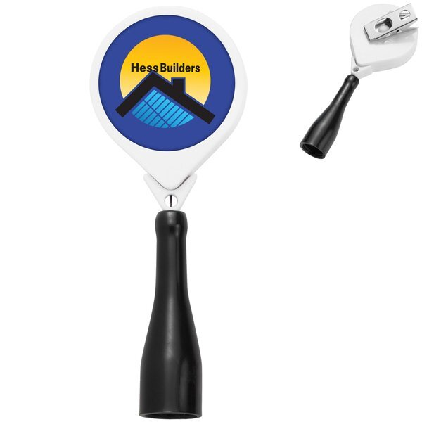 Antimicrobial Round Retractable Pen Holder, Bull Dog Clip