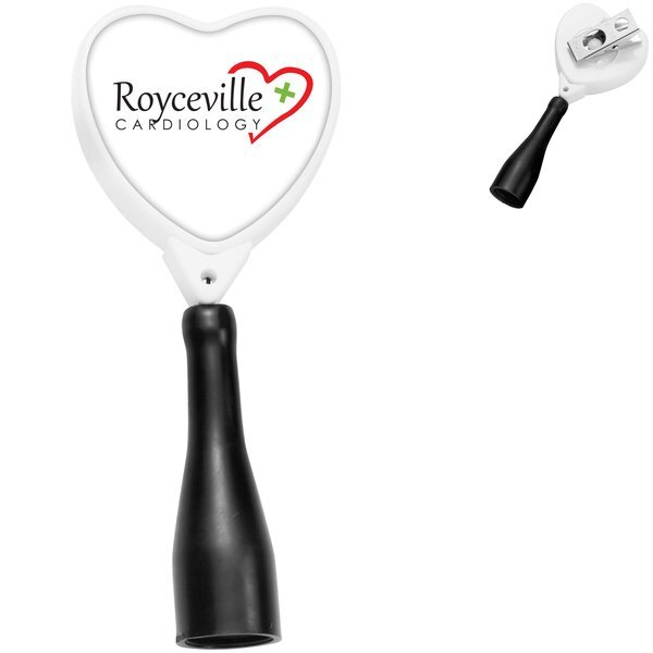 Antimicrobial Heart Retractable Pen Holder, Bull Dog Clip