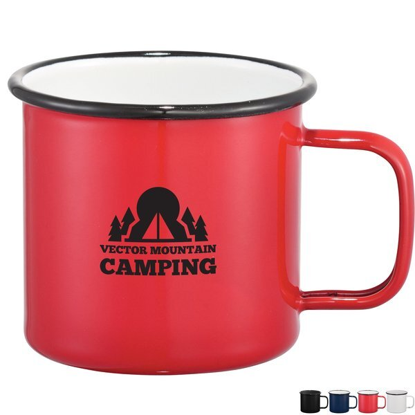 Enamel Rolled Rim Metal Camper Mug, 16oz.