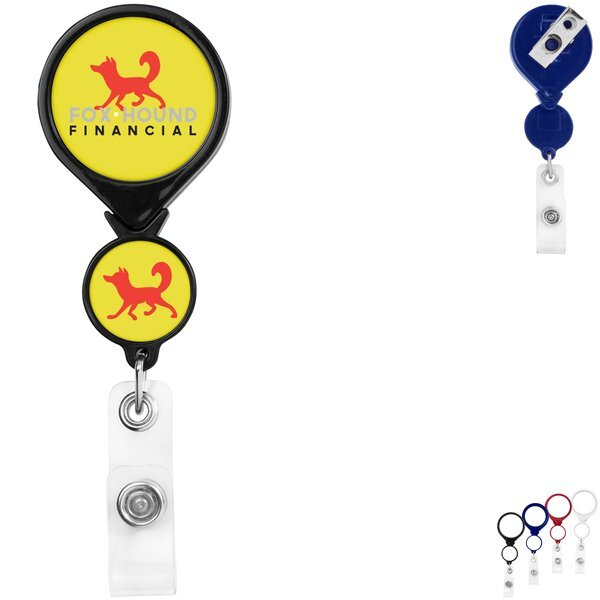 Double Up Round Rectactable Badge Reel, Bull Dog Clip