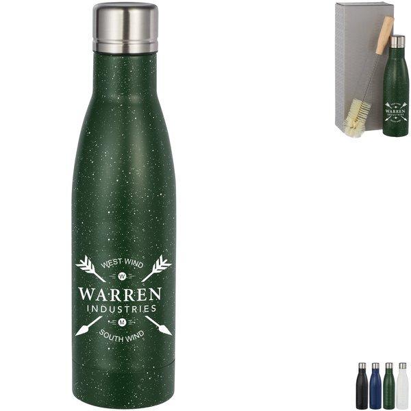 Speckled Vasa Copper Vacuum Insulated Bottle & Bottle Brush Gift Set, 17oz.