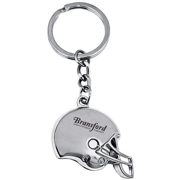 Football Helmet Silver Key Chain