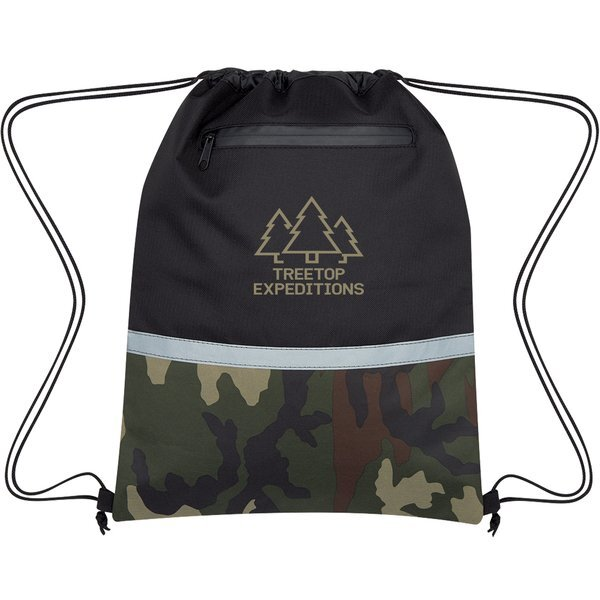 Camo Accent Drawstring Reflective Sports Pack