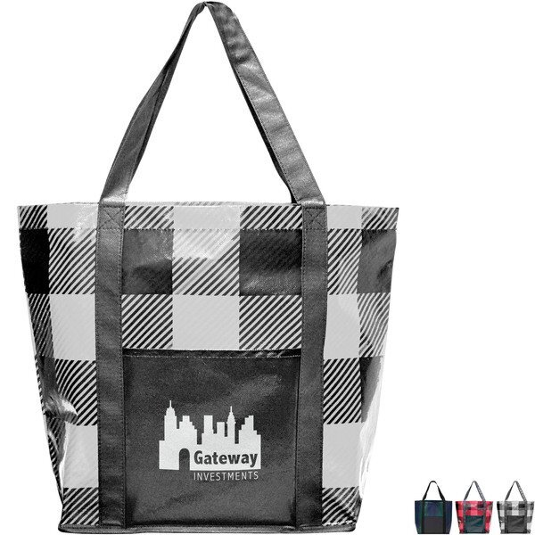 Buffalo Plaid Laminated Non-Woven Shopper Tote