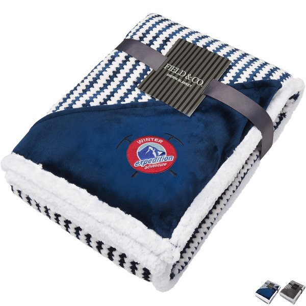 "Field & Co.® Chevron Striped Sherpa Blanket, 50"" x 60"""