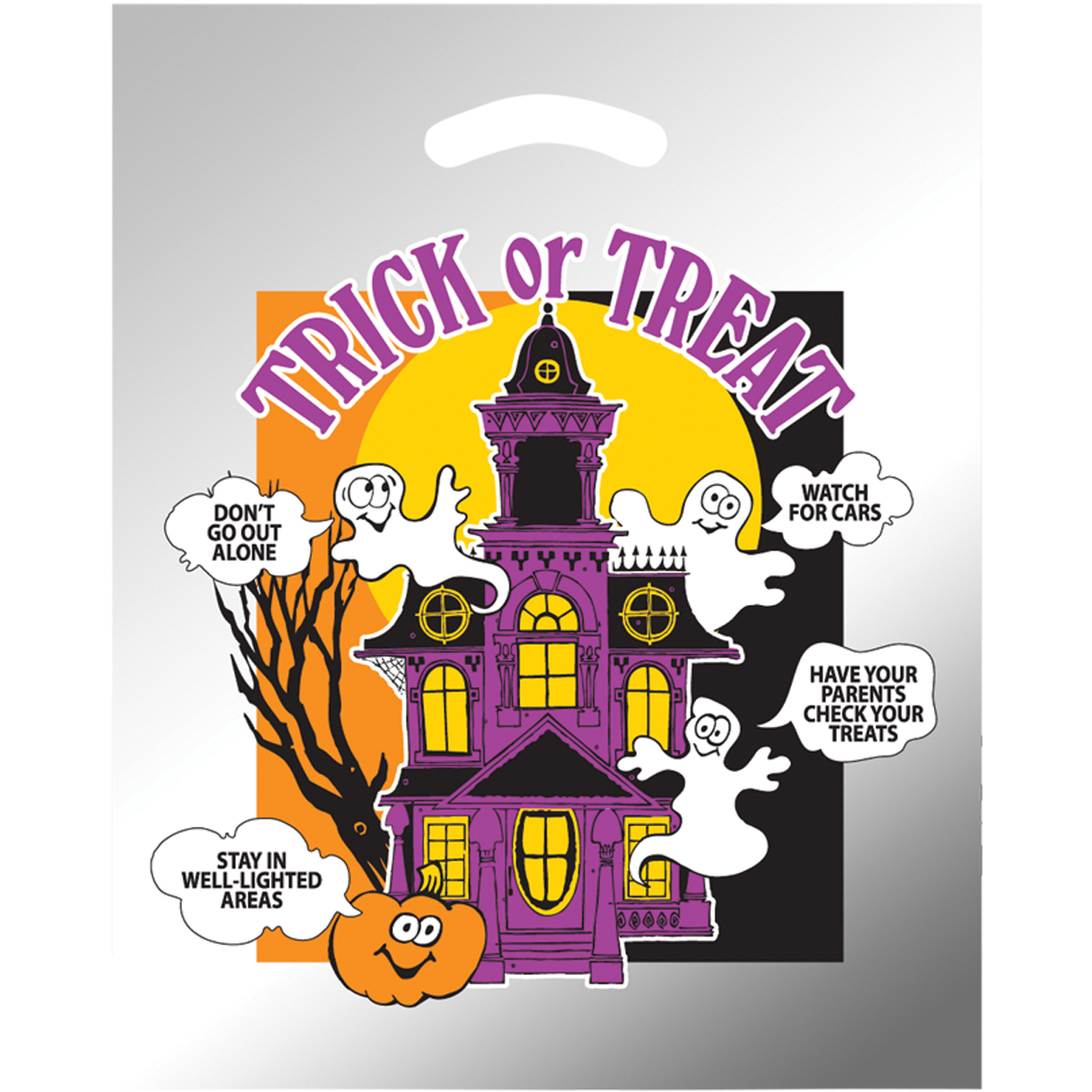 Halloween Haunted House Silver Reflective Ghost Bag, Stock
