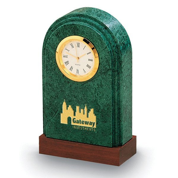 Synergy Arch Marble & Wood Desk Clock, 4-3/4""