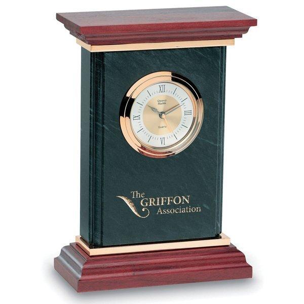 """Quantum Marble & Wood Desk Clock, 9"""""""