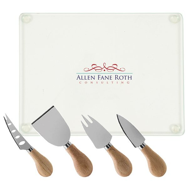 Cheese Board & Knife Set, Full Color Imprint