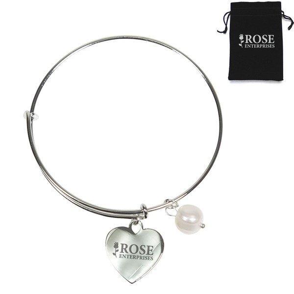 Expanding Bracelet w/ Freshwater Pearl & Heart Charm