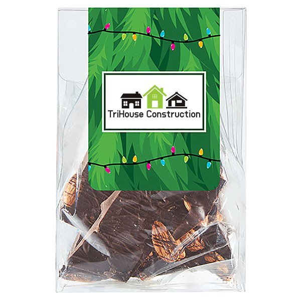 Dark Chocolate Almond Bark Classic Treat Tote, 4.5oz., Full Color Imprint