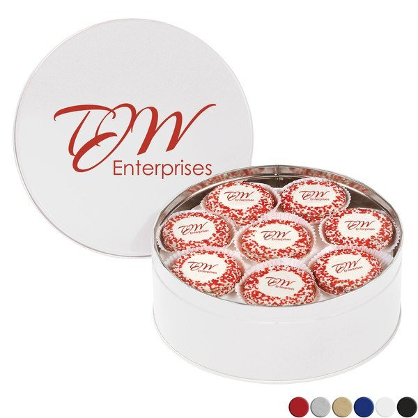 Chocolate Covered Oreos® w/ Corporate Color™ Nonpareils in Large Tin