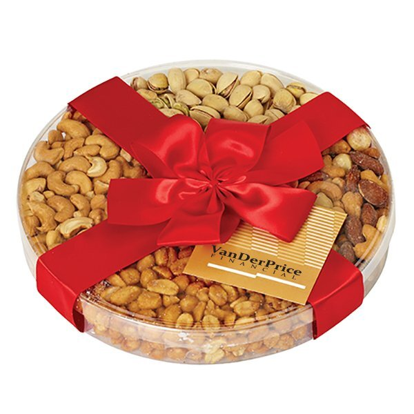 Nut Mix 4 Way Round Gourmet Gift, Full Color Imprint