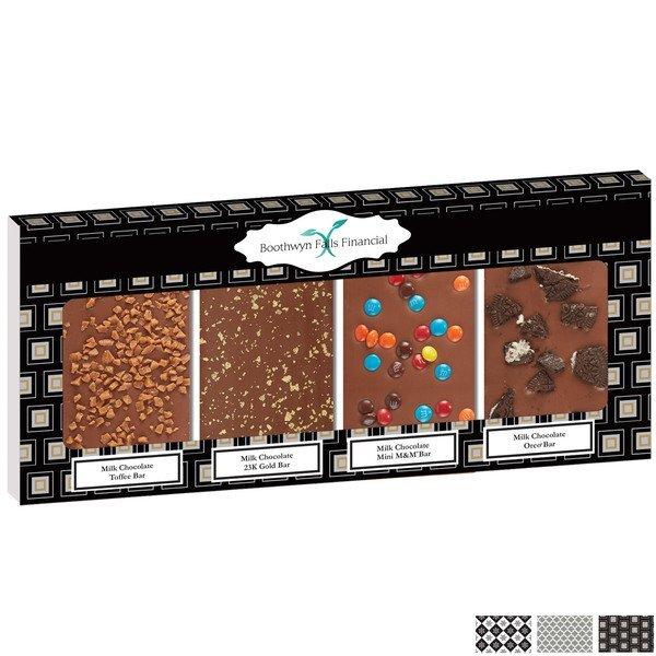 Belgian Chocolate Gold Standard Bar Quartet, Full Color Imprint