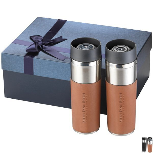 Astor Two-Piece Double-Wall Leatherette Sleeve Tumbler Gift Set