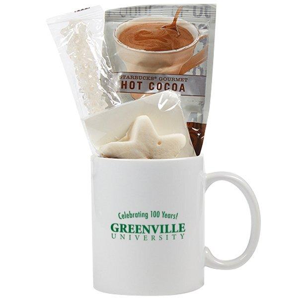 Classic Ceramic Mug & Hot Cocoa Gift Set - White