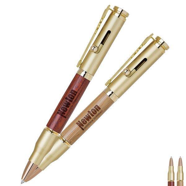 Bullet Bolt Action Brass Ballpoint Pen w/ Natural Barrel