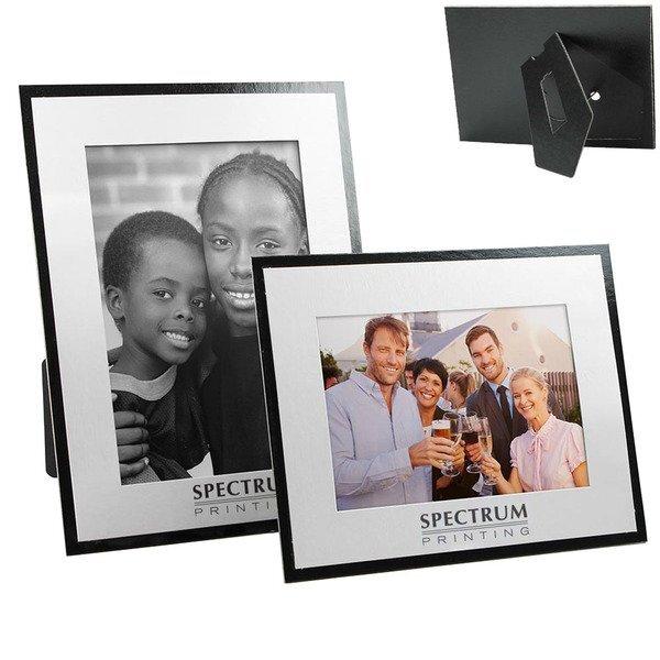 "White on Black Easel Back Chipboard Photo Frame, 4"" x 6"""