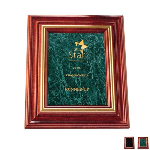 """Marble Plaque with Cherry Wood Frame, Small, 9-3/4"""" x 11-3/4"""""""