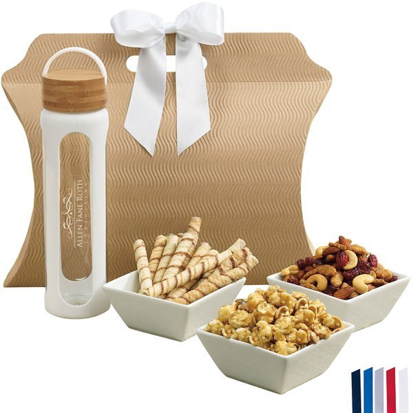 Bali Retreat & Relax Treat Tote w/ Bamboo & Glass Water Bottle, 25oz.
