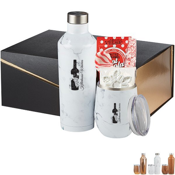 Joey Stainless Steel Tumbler, Riviera Stainless Steel Bottle, Hot Cocoa & Peppermint Gift Set - Colors