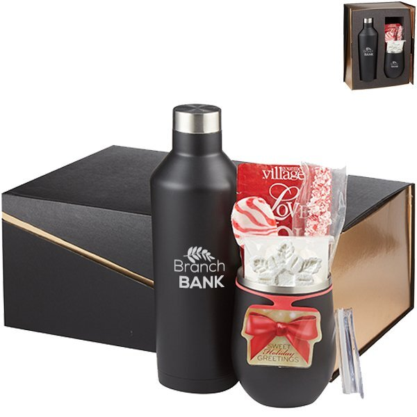 Joey Stainless Steel Tumbler, Riviera Stainless Steel Bottle, Hot Cocoa & Peppermint Gift Set - Black