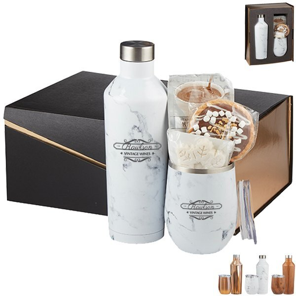 Joey Stainless Steel Tumbler & Riviera Stainless Steel Bottle Hot Cocoa Gift Set - Colors