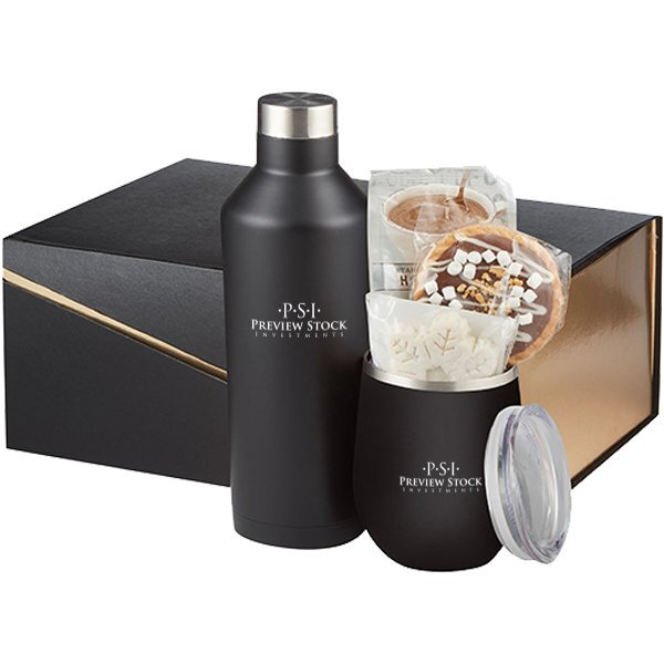 Joey Stainless Steel Tumbler & Riviera Stainless Steel Bottle Hot Cocoa Gift Set - Black